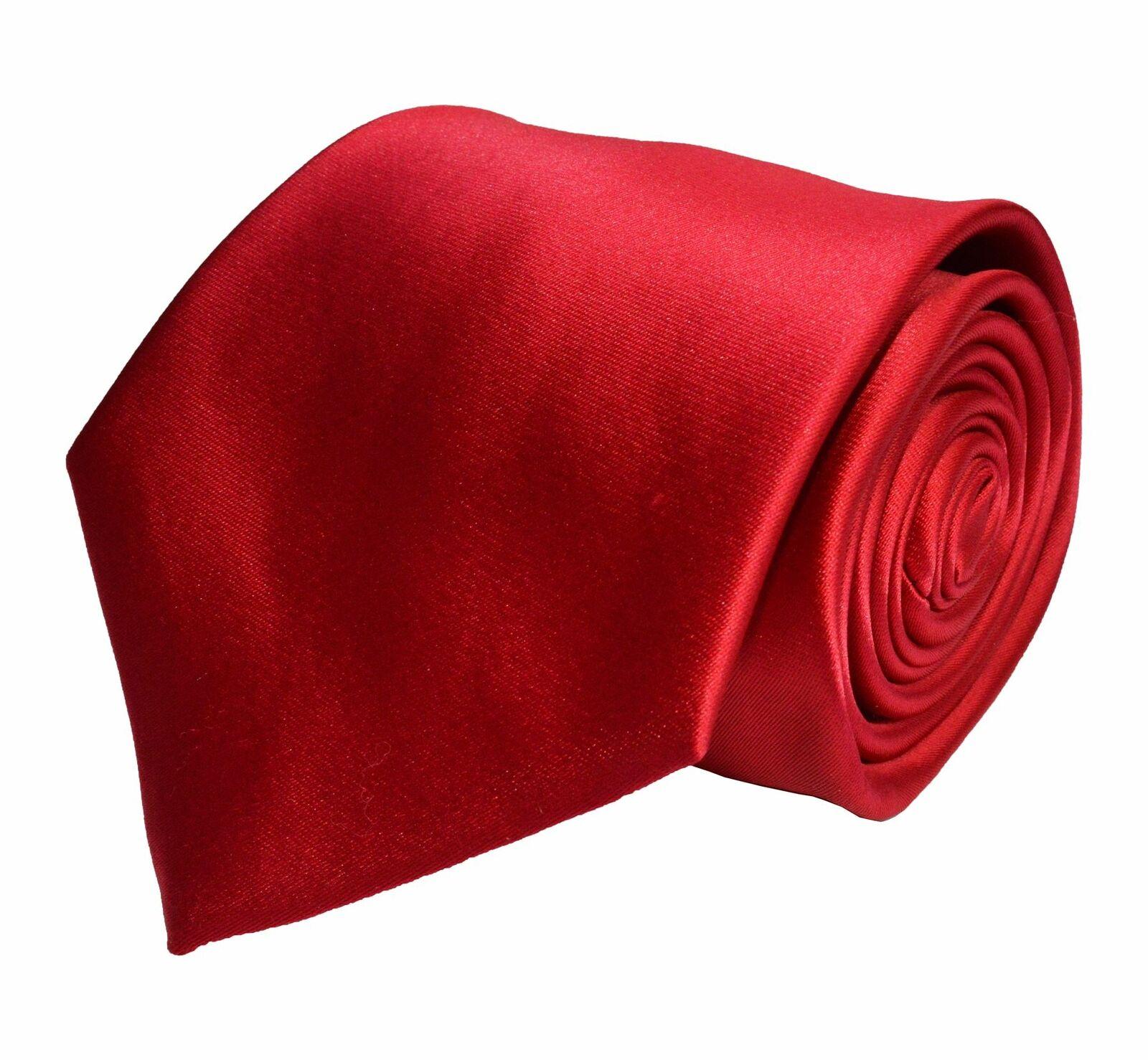 BERLIONI ITALY FANCY MATCHING NECKTIE SET SOLID DESIGNER TIE RED