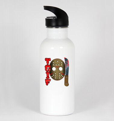 TGIF 13th #341 Funny 20oz White Water Bottle Halloween Friday Jason