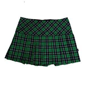 Tripp-NYC-80s-90s-Gothic-Goth-Punk-Green-Tartan-Plaid-Pleated-Mini-Skirt-Size-S