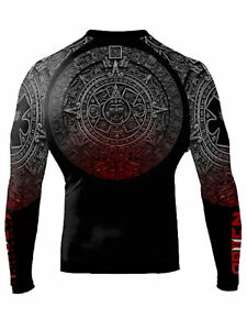 Raven Fightwear Men's Aztec Ranked Rash Guard MMA BJJ Black