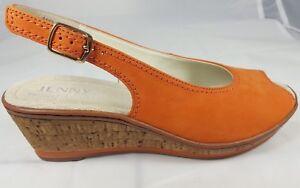 Details zu Jenny Ara Schuhe Damen Keil Sandalen Slingbacks Weite G Leder orange Neu 9511