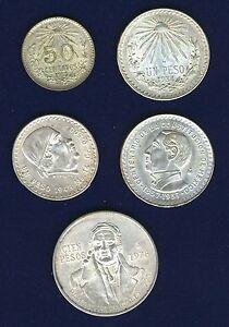 MEXICO 1935 50 CENTAVOS, 1934,1948 PESO, 1978 100 PESOS SILVER COINS, LOT OF (5)