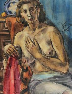 Henri-LE-FAUCONNIER-1881-1946-Halbakt-einer-Frau-auf-einem-Stuhl