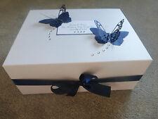 Personalised Wedding Memory Box Navy Butterfly Bridesmaid Keepsake Gift
