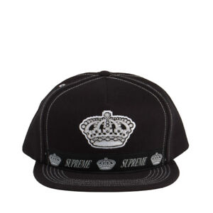 Supreme Crown Logo 5-Panel Snapback Black White 25719 630125269954 ... b74536e250d