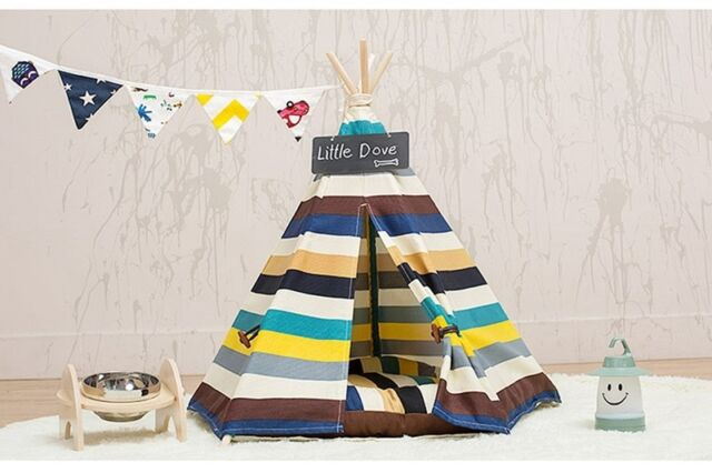 Removable Canvas striped Pet Kennels Dog Cat Teepee Play Tent House Bed