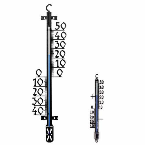 Metallo esterno Termometro 41 U 18 cm Set da giardino balcone veranda Analogico Nero
