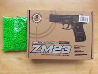 Airsoft Gun Cyma ZM23 Diecast Metal Alloy Spring Powered Pistol +1000 6mm BB BBs