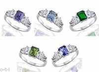 Emerald Cut Birthstone White Sapphire Baguette Cut Fashion Sterling Silver Ring