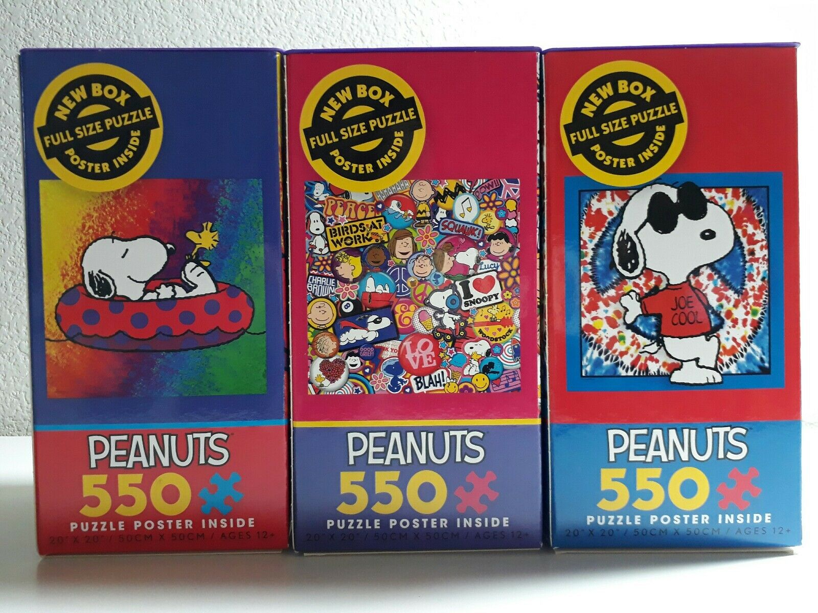 Peanuts 550 Piece Puzzle With Poster --- Set of 3 Boxes