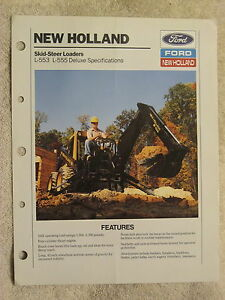 1989 FORD NEW HOLLAND L553,L555 DELUXE SKID STEER LOADER SPECIFICATIONS BROCHURE