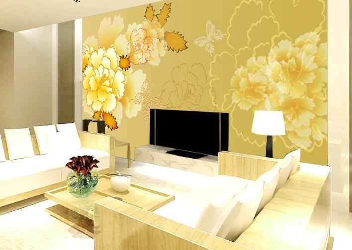 3D Goldene Pfingstrosen 52 Tapete Tapeten Mauer Foto Familie Tapete Wandgemälde