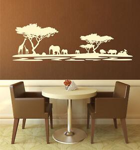 Dettagli su Adesivo Murale Africa Savana da Muro Elefante Skyline  Silhouette Paesaggio