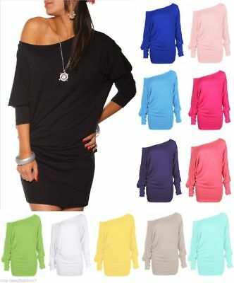 Womens Long Sleeve Off Shoulder Mini Batwing Tunic Dress Top Plus Sizes UK BTw