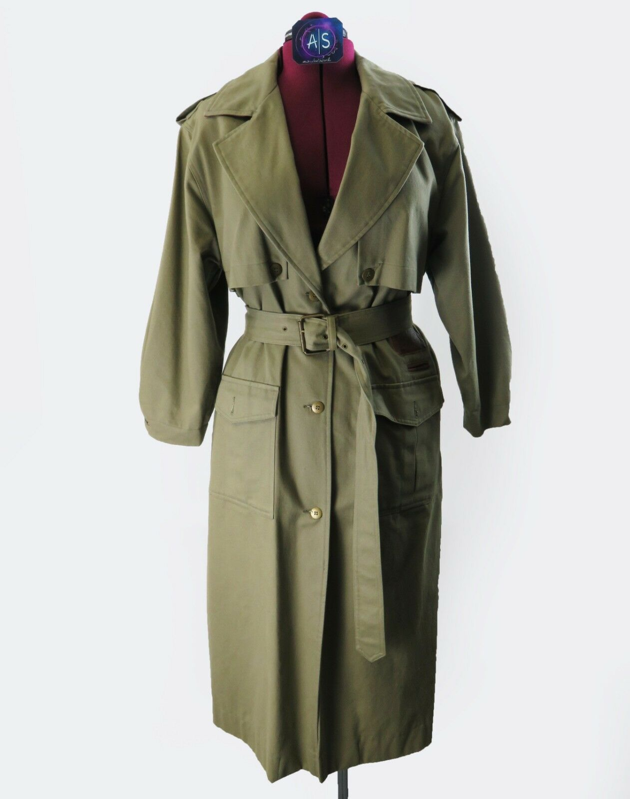 Together Petite trench coat size 8 olive army style maxi vintage womans NWOT