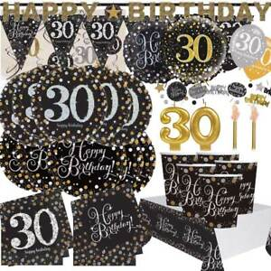 AGE-30-Happy-30th-Birthday-BLACK-amp-GOLD-SPARKLES-Party-Range-Banners-Balloons