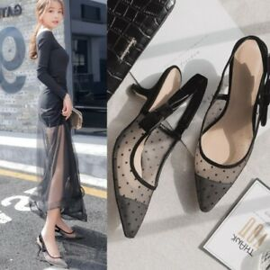 Chic-Women-039-s-Slip-on-Pointy-Toe-Stilettos-Slingbacks-Bowknot-Mesh-Fashion-Shoes