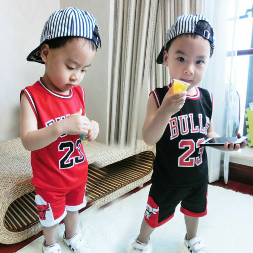 NEW  Kids Baby Boys#23 Michael Jordan Bulls Basketball Jerseys Short Suits