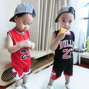 95a17c3a479 Kids Baby Boys Girls  23 Michael Jordan Bulls Basketball Jerseys ...