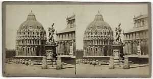 Pisa-Battistero-Italia-Foto-Stereo-Th1L8n-Vintage-Albumina-c1865