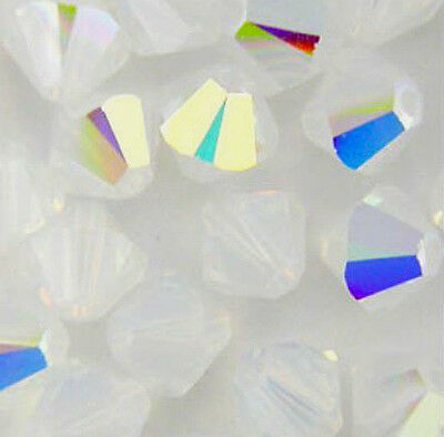 80 beads #4031 CrystaLine Round Solid White AB Glass beads 6mm