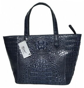 Image Is Loading 100 Crocodile Skin Womens Bag Tote Basket Grey