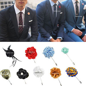 Image Is Loading New Mens Corsage Boutonniere Lapel Pin Flower Wedding