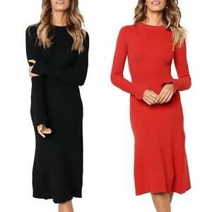 Womens Long Sleeve Bodycon Dress Knitted Ribbed Midi Slim Sweater Jumper Dresses