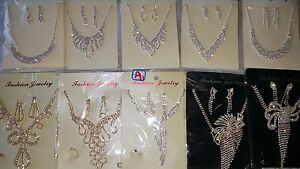 Joblot 12 pcs Diamante sets Necklace /& Earrings Wedding prom Wholesale  New