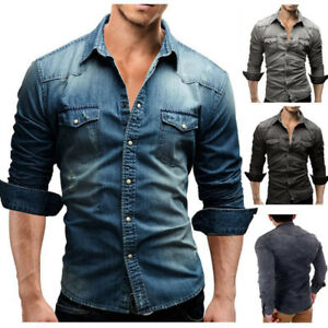 Men-039-s-Casual-Shirt-Slim-Long-Sleeve-Dress-Shirt-Jeans-Denim-T-shirt-Tops-XT406