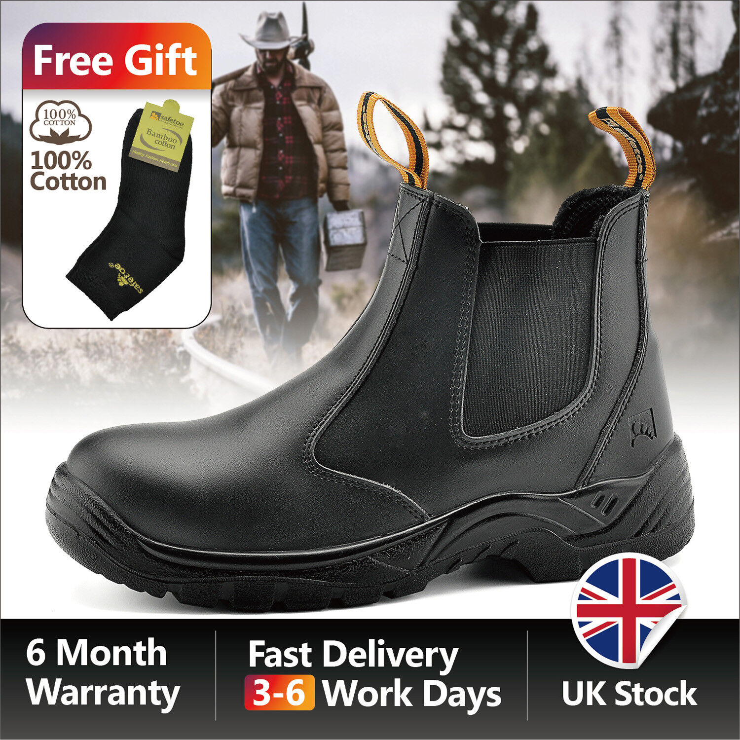Safetoe Safety Work Boots Mens shoes Steel Toe Black Leather Slip on Size UK6-12