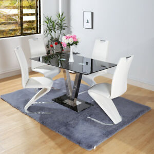 Image Is Loading 6 Seater Wide Rectangle Black White Gl Dining