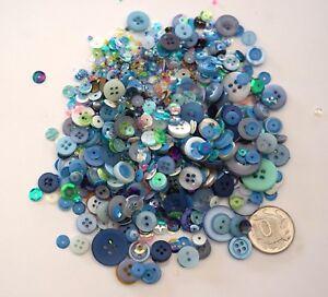 Details about NO 556 Scrapbooking -100+ Blue Buttons Beads/Sequins -  Scrapbook Embellishments