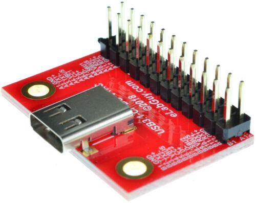eLabGuy USB3.1-CF-BO-V1AC USB 3.1 Type C Female Socket Breakout Board Arduino