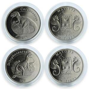 France-Mayotte1-franc-set-of-2-coins-Dinosaur-coin-2017