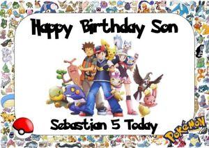 Pokemon ** personnalisé de carte d/'anniversaire ** tout nom//age
