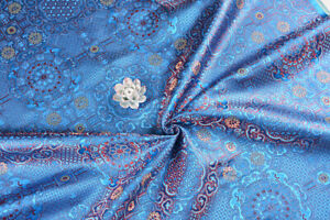 By 1 2 Yard Kimono Silk Damask Kimono Brocade Fabric Japanese Mandala Sky Blue Ebay