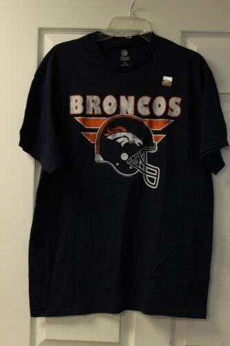 Top Denver Broncos Team Apparel T-Shirt Dark Navy With White/Orange Lettering for cheap