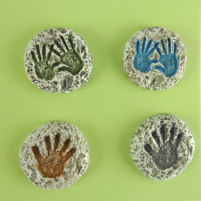 Dollhouse Miniature Fairy Garden Resin Handprint Stepping Stones, Set of 4