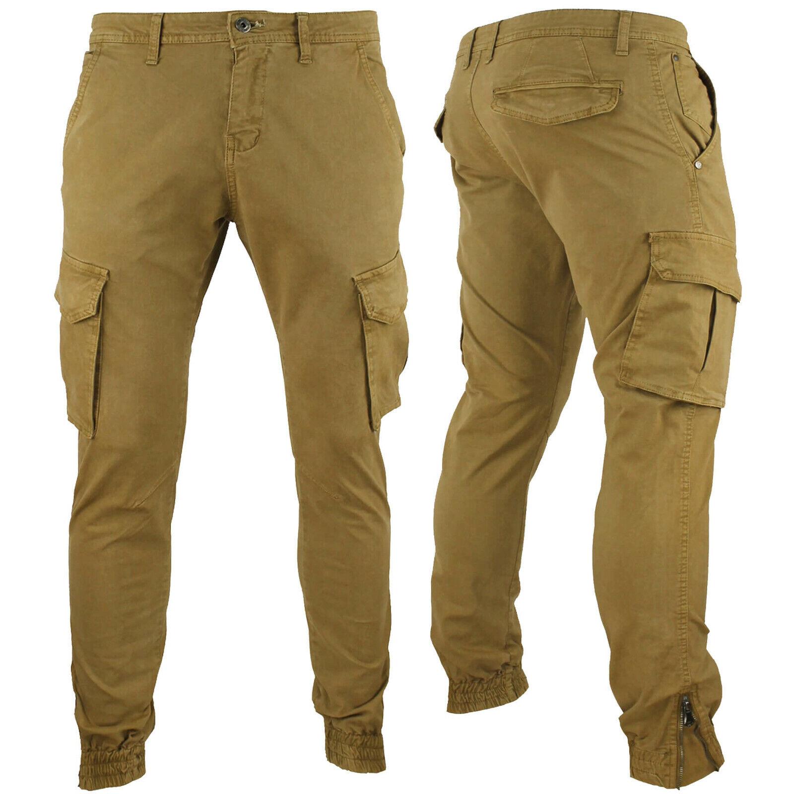 Pantaloni Cargo Uomo Slim Fit Tasche Laterali Skinny Cotone RDV