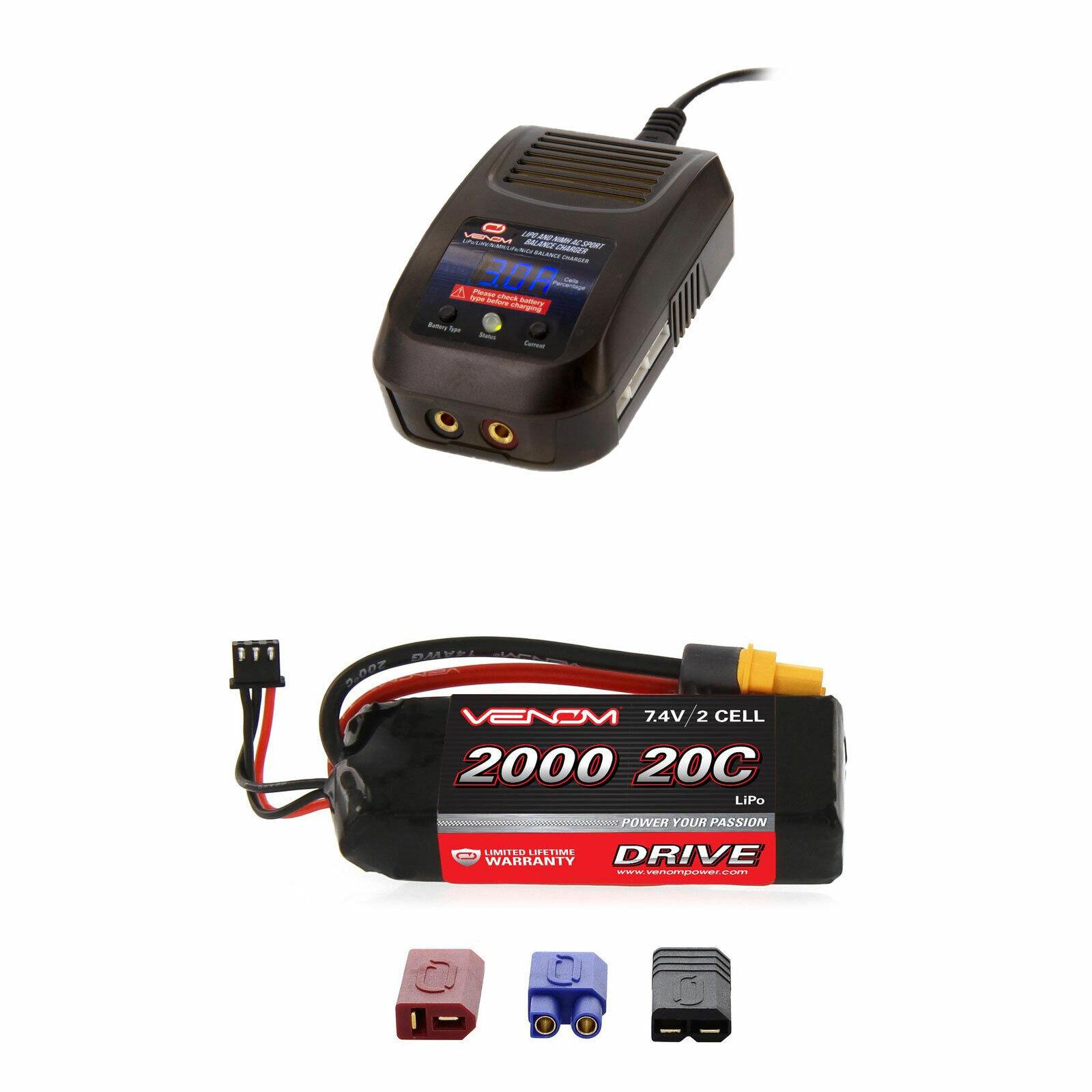 Venom 20C 2S 2000mAh 7.4V Batería Lipo Y Cargador Combo Sport