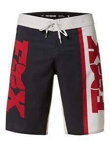 Fox Racing Mens Victory Stretch Motocross Logo Boardshorts Chili Red, 32