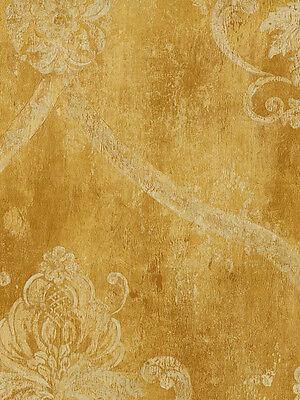Oversized Cream Damask on Golden Caramel Wallpaper CS27329