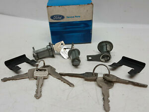 NOS-FoMoCo-1965-66-Ford-Mustang-Ignition-Door-and-Trunk-Lock-Set-C5DZ-6222050-A