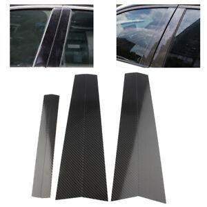 6pcs Carbon Fiber Car Window B Pillar Trim Cover For BMW 5 Series E60 2004-2010