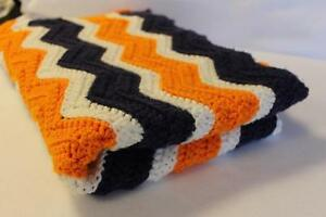 New Handmade Crochet Ripple Chevron Baby Blanket Orange Navy White