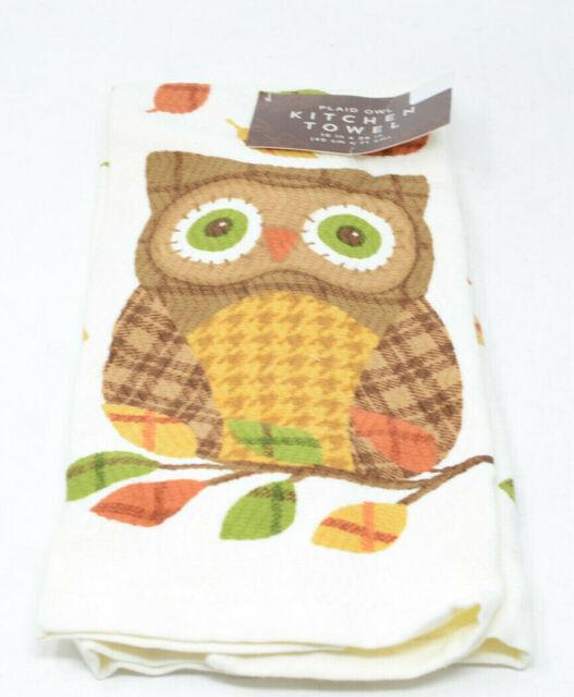 plaid owl kitchen towel | ebay