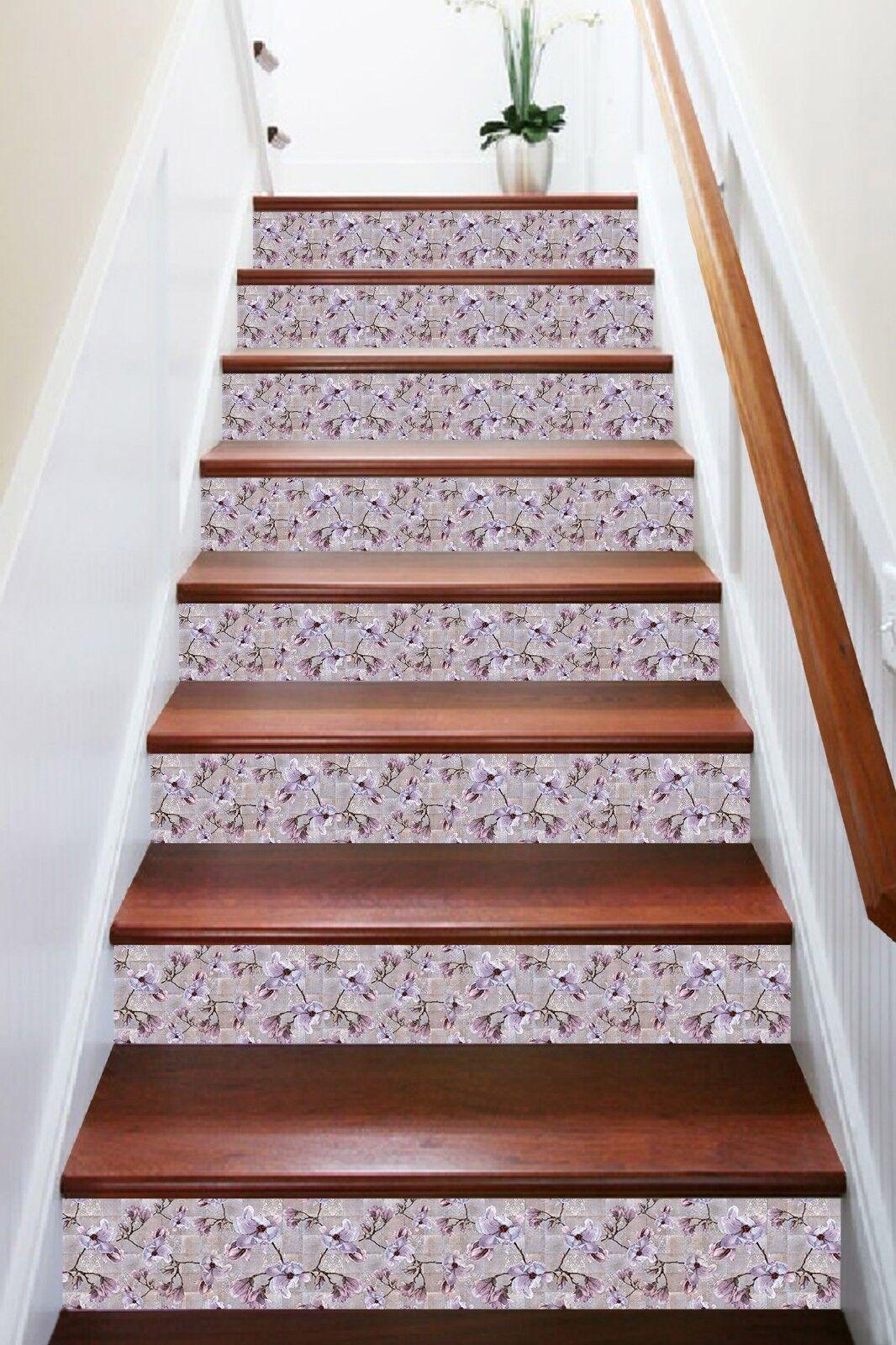 3d violet fleurs Jade 1 Carrelage Marbre Stair Risers vinyle papier peint Papier peint de