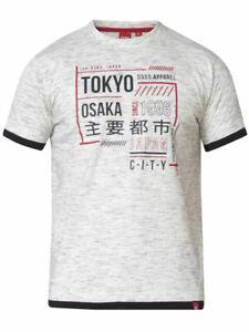 Merlin - 1 D555 Homme Gris Tokyo Imprimé T-shirt avec double couche Ourlet et de poignets côtelés
