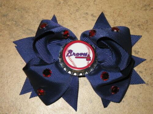 "NEW /""ATLANTA BRAVES/"" Pro Baseball Girls Ribbon Hair Bow Rhinestone Clip MLB"